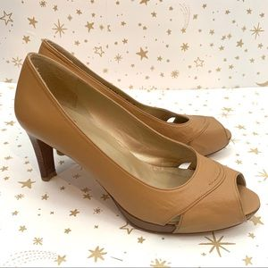 Stuart Weitzman | Tan Peep Toe Leather Heels 8.5
